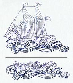 Colour it, sew it, trace it, etc. Ship and Waves (Split)_image