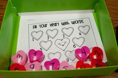 I like this too, each heart box has letters to spell a certain word, they have to put the words together and write them on the sheet. Wish I had some of these little boxes...
