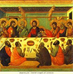 Duccio di Buoninsegna. Maestà (back, central panel) The Last Supper.