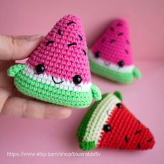 "1,159 Beğenme, 14 Yorum - Instagram'da Irina (@bluerabbit_crochet): ""Kawaii Watermelon Slices Crochet pattern is available in my Etsy and Ravelry shop. Link in bio �"