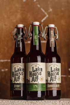 43'oz Design Studio has created the traditional yet modern label for Lake  House Ale, a family-owned craft beer brand.