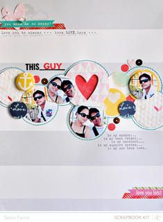 """This guy"" scrapbook LO by Sasha Farina.  I love using circles in art and scrapbooking."