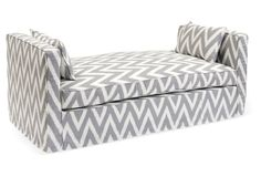 "Reed 65"" Linen Daybed, Gray/Ivory"