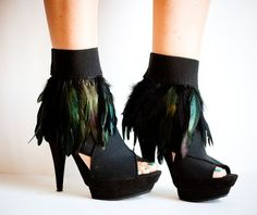 DIY CRUELLA Black Feather Ankle Cuffs for the new year's party.