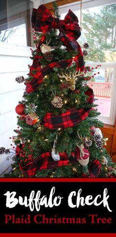 Buffalo Check Plaid Christmas Tree. Rustic DIY christmas tree on a budget.  Lumberjack, deers and birds oh my.