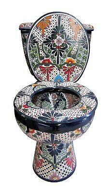 Mexican Talavera Toilet Set Bathroom Handcrafted San Miguel | eBay