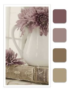 Dusty Plum, French Lavender, Herb, Taupe I Love the color combos ! Colour Schemes, Color Combos, Color Mauve, Muted Colors, Old Rose Color Palette, Neutral Tones, Paleta Pantone, French Lavender, Lavender Color