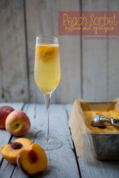 Peach Sorbet and Bellini Spritzer #Recipe via FoodforMyFamily.com