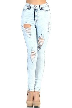 Distressed High Waist Jeans