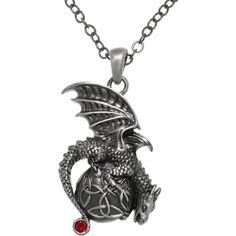 CGC Pewter Dragon Celtic Trinity Knot Orb Pendant 24-inch Chain... ($28) ❤ liked on Polyvore featuring jewelry, necklaces, accessories, celtic knot jewelry, chain pendants, pewter necklace, celtic knot pendant and celtic jewelry