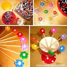 ¨°o.O Pics décoratifs en perles Hama / hama beads picks O.o°¨ http://www.creamalice.com/Coin_conseils/1-loisirs_creatifs_2013/4D-Tuto_Pics-decoratifs_Perles_Hama/Tuto_DIY_Pics-decoratifs_Perles_Hama.htm