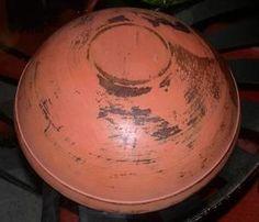 Wonderful Primitive Large Dough Bowl with Salmon Paint