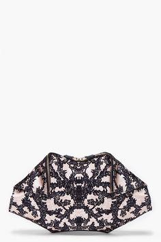 Alexander McQueen Black Lace Print Clutch