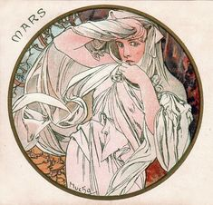 The Months: March, by Alphonse Mucha, 1899, Postcard