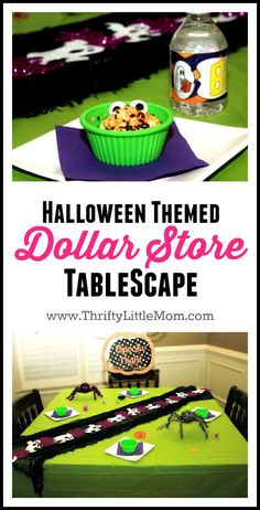 Halloween Themed Dollar Store Tablescape.  This post has ideas for halloween diy decor, halloween dollar store decoration ideas and simple fun craft ideas to make a halloween table runner!