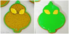 """Easy Grinch Cookies Collage (Ellie's Bites) *****Update- yes, I know it is unusual to update a post before it's published. Technically it's called """"Editing"""", right? I just want to make a quick note. It's funny s… Cake Mix Cookie Recipes, Holiday Cookie Recipes, Cake Mix Cookies, Iced Cookies, Cookie Ideas, Cupcakes, Christmas Cookies Grinch, Grinch Cookies, Xmas Cookies"""