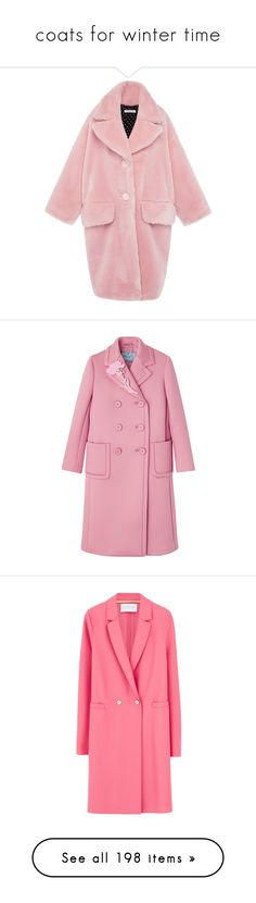 """coats for winter time"" by marcellamic ❤ liked on Polyvore featuring outerwear, coats, jackets, coats & jackets, fur, vivetta, single-breasted trench coats, pink faux fur coat, pink coat and fake fur coat"