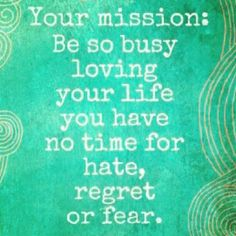Your Mission: Be so busy loving your life you have no time for hate, regret or fear.