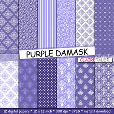 """Damask digital paper: """"PURPLE DAMASK"""" with purple damask backgrounds and classical damask patterns for scrapbooking by clairetale. Explore more products on http://clairetale.etsy.com"""