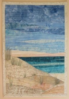 Landscapes Quilts Gallery - Art Quilts by Sharon. I would add some seagulls! Ocean Quilt, Beach Quilt, Fiber Art Quilts, Textile Fiber Art, Batik Quilts, Applique Quilts, Watercolor Quilt, Landscape Art Quilts, Fabric Postcards