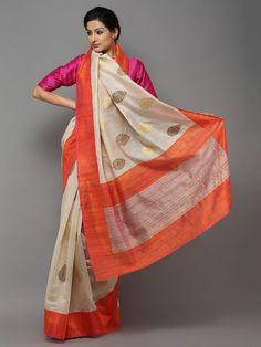 Beige Orange Handwoven Banarasi Tussar Saree