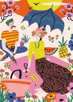 / Nos vamos de picnic! / We're going on a picnic! Landscape Illustration, Digital Illustration, Flat Illustration, Cute Gifts For Her, Romantic Picnics, Love Posters, Communication Art, Wow Art, A4 Poster