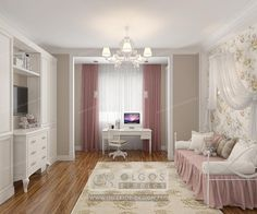 Pink white nursery for girl