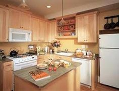 white appliances with wood cabinets google search