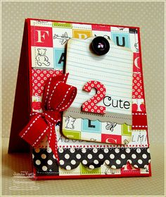 OA (Schoolhouse, I think? Scrapbook Cards, Scrapbooking, Scrapbook Layouts, Cricut Cards, Card Tags, Paper Cards, Creative Cards, Kids Cards, Cute Cards
