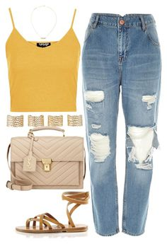 """""""Casual Day"""" by rayray669 ❤ liked on Polyvore featuring River Island, Topshop, Yves Saint Laurent, Maison Margiela and K. Jacques"""
