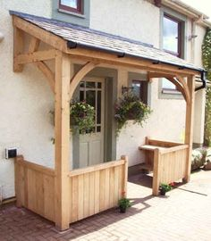 Looking for beautiful hand-crafted bespoke joinery? Woodstyle Joinery offers kitchens, conservatories, doors, windows and much, much Cottage Front Doors, Front Door Porch, Front Porch Design, Porch Roof, Porch Designs Uk, Cabin Porches, Diy Porch, Porch Ideas, House With Porch