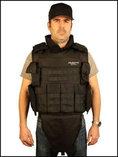 The BulletSafe Alpha Vest is a full, combat ready bulletproof vest that offers twice the protective area of other bulletproof vests. It offers standard front and rear protection as well as shoulder, collar, wrap-around side protection, and a drop-down groin protector. It also offers a full M.O.L.L.E. system, 6 utility pouches, and front and rear plate pockets.  This vest will stop handgun rounds up to a .44 Magnum and will do so over a larger area than almost any other bulletproof vest.