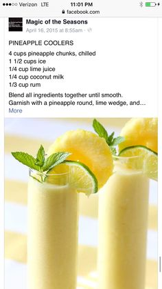 Pineapple Cooler Cup Rum Cup Coconut Milk Cup Fresh Lime Juice 4 Cups Fresh Pineapple Chunks 1 Cups Crushed Ice All in a blender until desired consistency . Fruit Drinks, Smoothie Drinks, Healthy Drinks, Smoothie Recipes, Alcoholic Drinks, Beverages, Pool Drinks, Mix Drinks, Liquor Drinks