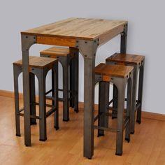 Mesa alta Boston taburetes bar estilo vintage industrial, realizada en madera…