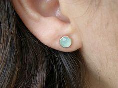 Aquamarine chalcedony Gold stud earrings  Recycled 14k by OritNaar, $89.00