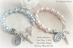 Baby Girl & Boy Baptism Guardian Angel Rosary Bracelets - 2 Bracelets included in Set Our Father Prayer, Diy Jewelry, Jewelry Making, Boys Bracelets, Baby Girl Baptism, Irish Jewelry, Rosary Bracelet, Letter Beads, Small Gift Boxes