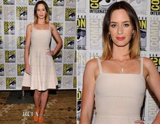 Emily Blunt attended the 'Looper' panel at Comic-Con International 2012.  Blunt was the image of ladylike perfection in a cream Christian Dior dress. Blunt spices up the demure frock with a good old pop of color — courtesy of Sergio Rossi.  Love her bold lip
