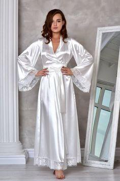 4b53529f86 Light ivory long bridal robe Wedding kimono lace robe Bridal dressing gown  Long robes for women Wedd