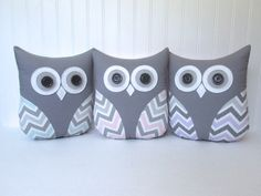 decorative owl pillow, chevron owl, chevron pillow, blue and gray,  pink and gray, purple and gray nursery decor by whimsysweetwhimsy by whimsysweetwhimsy on Etsy https://www.etsy.com/listing/207328438/decorative-owl-pillow-chevron-owl