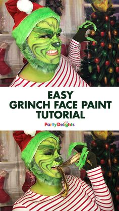 The grinch makeup tutorial christmas 2016danielle tarbet 2017 dress up as the grinch this christmas with our diy grinch costume and easy grinch face paint tutorial you only need basic face paints and costume solutioingenieria Image collections