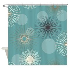 Retro Teal Shower Curtain on CafePress.com