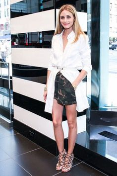 Olivia Palermo-Camo Shorts & White Shirt