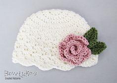 Cute baby beanie pattern. So cute! Ava Rose Cloche crochet pattern by Bowtykes