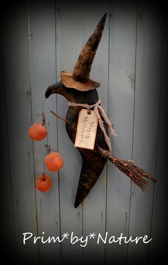 Primitive Halloween Fall Autumn Witch Crow Door Doll with Pumpkin Pods