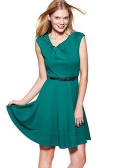 ELIZA J Knot Neckline Fit-and-Flare Dress - love the neckline.