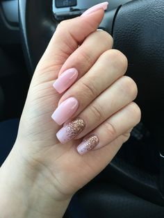 Pink nails with rose gold accents