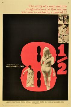 8 1/2 Fellini, 1963 - original vintage movie poster for Federico Fellini's award winning film starring Marcello Mastroianni, Anouk Aimee, Claudia Cardinale, Sandra Milo, Rossella Falk and Barbara Steele, listed on AntikBar.co.uk