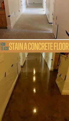 Want to know how to acid stain concrete floors? Staining concrete is a great way to add an elegant look to your home. Improve your home with this DIY idea! Home Improvement Projects, Home Projects, Basement Makeover, Up House, Diy Flooring, Flooring Ideas, Laminate Flooring, Basement Remodeling, Basement Ideas