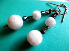 Copper Moonstone/Blue quartz Earrings is going up for auction at  4pm Thu, Mar 28 with a starting bid of $6.