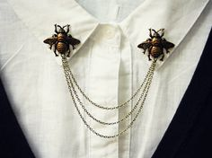 brass bee collar pins collar chain collar brooch by alapopjewelry